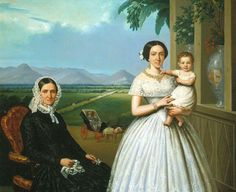 """ca.1852 -  """"Portrait of Josefina Eguía and Gil de Polidura with her mother Justa Gil and the little Trinidad Polidura Eguía"""" (Mexico City) by Edouard Pingret (French, 1788-1875). Complement to the previous painting, although now with the opposite view of the house (towards the nor-oriente), looking towards the extensive property of the Santa Maria Ranch, the Ranch of the Poplar Lands. Collection of National Bank of Mexico"""