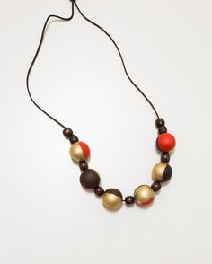 Coral Brown Gold wood necklace - chunky wooden beads - natural materials necklace - wood hand painted beads
