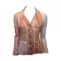 Christian Dior Peach Denim Jacket with White Mesh Insets - Cris Consignment   San Francisco Consignment   Designer Clothing, Handbags, Shoes and More