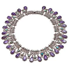 Necklace | Matilde Poulat, Mexico.  circa 1940-50.  Sterling silver with teardrop amethysts separated by turquoise drops