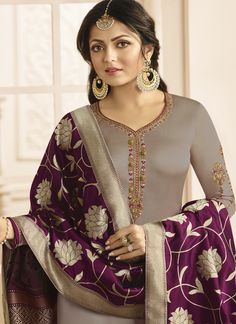 Shop for Dust Color Madhubala Satin Georgette Salwar Suit. All Latest Designs Available at Discounted Price. Only Original Product with High-Quality Fabric Material. Shadi Dresses, Event Dresses, Pakistani Dresses, Indian Dresses, Indian Outfits, Indian Attire, Indian Clothes, 50s Dresses, Nice Dresses