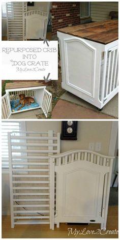 Repurposed Crib Dog Crate
