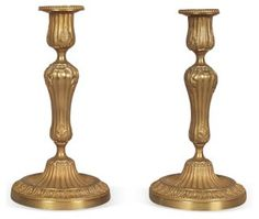 19th-C. Candleholders, Pair