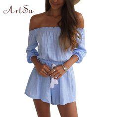 41bb7851791b ArtSu Fashion Blue Jumpsuit Women Short Tassel Combinaison Short Femme Jumpsuits  Romper Womens Jumpsuit Combinaison Femme JU5196-in Rompers from Women s ...