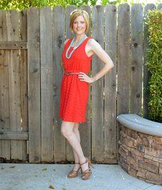 Orange dress + aqua #outfit