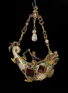 Monster-fish Pendant. Enamelled gold jewel set with emeralds, rubies, garnets, amethysts and pearls. Spain or Paris, France, 19th century. H. 8.7cm. British Museum WB. 158. Bequeathed by Baron Ferdinand Rothschild. © The Trustees of the British Museum.