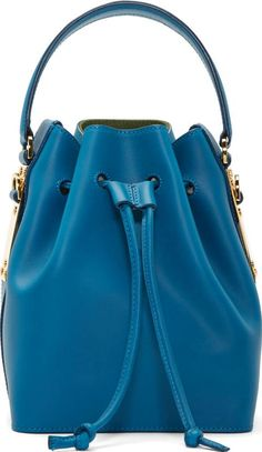 Teal Blue Saddle Leather Small Bucket Bag #Bucket Bags #Ssense #fashion #obsessory #fashion #lifestyle #style #myobsession