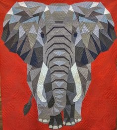 Elephant Abstractions Quilt Kit - Finished size 54 x 60 Patchwork Quilting, Longarm Quilting, Applique Quilts, Machine Quilting, Quilting Projects, Quilting Designs, Quilt Baby, Paper Piecing Patterns, Quilt Patterns