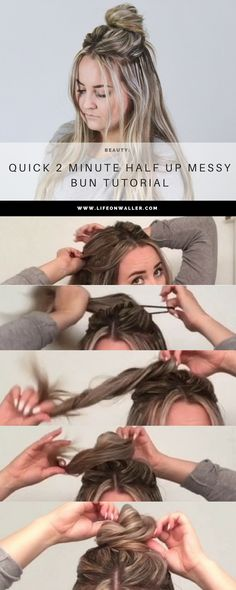 This is a super stylish and trendy half up hairstyle that is quick and easy to do! All you need is 2 minutes for this half up messy bun! Messy bun, easy up do, trendy hairstyle, long hair, short hair, medium hairstyle. blonde highlights.