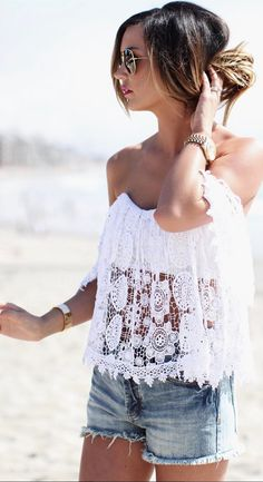 White lace top Casual Attire, Women's Casual, Look Girl, Stylish Clothes For Women, Cute Rompers, Women's Fashion, Fashion Outfits, Puerto Rico, Spring Summer Fashion