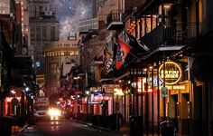 Bourbon Street, early morning in New Orleans, LA