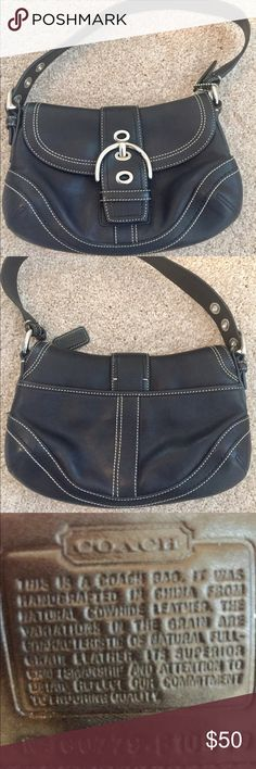 Black Coach Handbag EUC. Cute Coach bag. Good used condition. There's a little sign of ware on the corner in the back, but not noticeable. Clean inside.  Silver hardware. Coach Bags