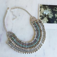 Boho style statement necklace Silver chunky necklace with turquoise details :) Hwl boutique Jewelry Necklaces