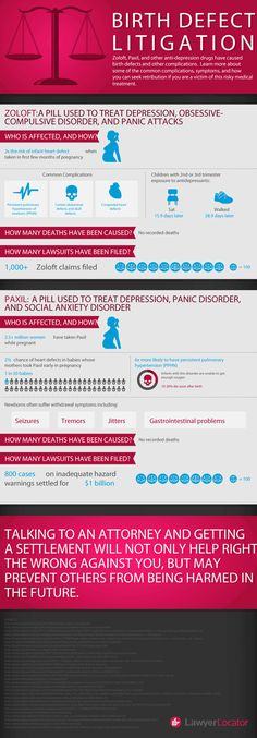 Zoloft, Paxil and other anti-depression drugs have caused birth defects and other complications. Learn more about some of the common complications and