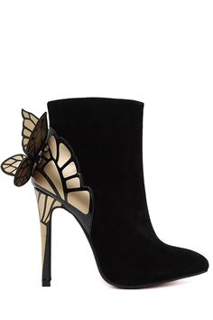 Butterfly Wings Color Block Suede Ankle Boots