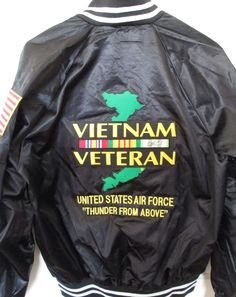 "VIETNAM VETERAN UNITED STATES AIR FORCE ""THUNDER FROM ABOVE""SATIN JACKET 2-SIDES #AUBURNSPORT #Military"