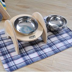 ==> [Free Shipping] Buy Best Wooden stainless steel cat dog water food bowl for dog feeding bowl stand cats dogs bowls pet products supplies round square Online with LOWEST Price   32814489763