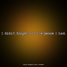 I didn't forget all the peace I had. Ragamuffin, Funny Moments, The Funny, The Dreamers, Don't Forget, Peace, Good Things, In This Moment, Thoughts