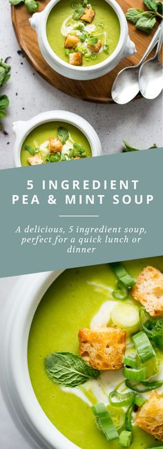 I need to try this yumminess. A quick, simple and vegan 5 ingredient pea and mint soup with a coconut cream swirl Best Soup Recipes, Healthy Soup Recipes, Whole Food Recipes, Cooking Recipes, Coconut Recipes, Lunch Recipes, Summer Recipes, Healthy Foods, Free Recipes