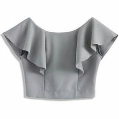 FRONT - Frilling shoulder - Boat neckline with deep V-shape back - Exposed back zip closure - Cotton, Polyester - Machine washable Size(cm) Length Bust Waist S/M 34 94 74 Size(inch) Length Bust Waist S/M 37 29 * S/M fits for Drift in a Frilling Grey Cropp Blouse Patterns, Saree Blouse Designs, Blouse Styles, Sewing Patterns, Sewing Ideas, Sewing Clothes, Diy Clothes, Clothes For Women, Boat Neck Tops