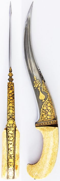 Indian (North) pesh kabz, 17th century, wootz steel blade, gold, ivory (walrus), H. 15 1/8 in. (38.4 cm); H. of blade 10 1/2 in. (26.7 cm); W. 3 in. (7.6 cm); Wt. 19.7 oz. (558.5 g), Met Museum, Bequest of George C. Stone, 1935.