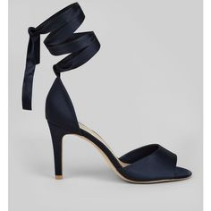 New Look Wide Fit Navy Satin Ankle Tie Heels (£26) ❤ liked on Polyvore featuring shoes, pumps, navy, navy pumps, wide pumps, navy satin pumps, navy blue satin pumps and navy shoes