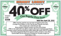 Hobby Lobby coupons & Hobby Lobby promo code inside The Coupons App. off a single item at Hobby Lobby, or online via promo code 9659 April Art Craft Store, Craft Stores, Hobby Lobby Coupon Code, Weekly Coupons, Online Coupons, Weekly Ads, Free Printable Coupons, Free Coupons, Store Coupons