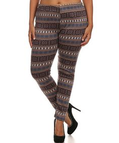 Look what I found on #zulily! Brown & Black Fair Isle Faux Fur-Lined Leggings - Plus #zulilyfinds