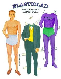 Jimmy Olsen paper doll complete with emergency signal watch! by Roy Frank Celaya Dc Comics, Jimmy Olsen, Legion Of Superheroes, Paper Dolls Book, Popular Outfits, Fashion History, Costume Design, Superman, Teen