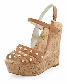 CUTE! Jolie Studded Cork Wedge by MICHAEL Michael Kors at Neiman Marcus.