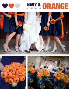 Navy and Orange Wedding. Hinata's wedding colors (i swear, if you can't figure out who i paired her with. Autumn Wedding, Blue Wedding, Wedding Bells, Dream Wedding, Daisy Wedding, April Wedding, Wedding Bouquet, Navy Orange Weddings, Orange Wedding Colors