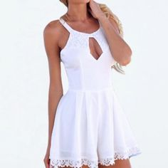 Sheer Romper Swim Cover-up This is the perfect coverup to your killer new bathing suit for summer. Beautiful lace detail in the back can show off any cool back details for your swimwear. Is stretchy enough to step into and be comfortable running around all day. It is sheer so you can't really wear it alone. Works best for the pool or beach. Swim Coverups