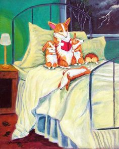 """Thunder Boomer! """"Mom wished the other kids could relax during storms like Arthur could!"""" Fun Corgi art by Lyn Hamer Cook©"""
