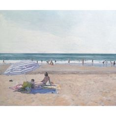 """Barcelona Art Market """"Family on a beach III"""" Technique: OIL painting on canvas mounted on a wooden frame. Artist: SERGI CASTIGNANI Size: 38 x 46 cm / 15 x 18.1 inches #painting"""