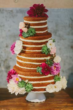 naked wedding cake, photo by Apryl Ann Photography http://ruffledblog.com/romantic-hickory-street-annex-wedding #weddingcake #cakes