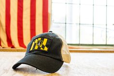 Baltimore city flag hat, black, vintage trucker mesh - Civil Standard | Hats for the Hometown Soul