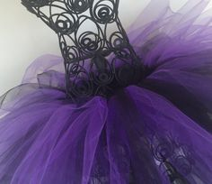 Black and Purple tulle tutu skirt Witch Dracula by TutuPlace