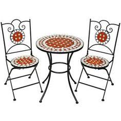 Meuble de jardin, Table de jardin acier et céramique mosaïque ronde Ø 60 cm Blanc, Noir, Terre cuite avec 2 chaises TECTAKE. • Le mobilier de jardin en mosaïque a toujours été… Voir la présentation