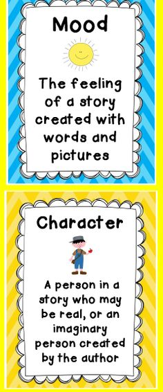 Use with any text! Loads of  Mood and Character Trait thinking stems, graphic organizers, worksheets, vocabulary, and posters.  Perfect for assessments, class discussion, literacy centers, small group  and partners. $