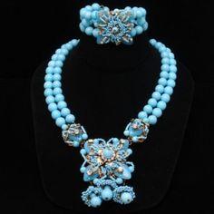 Miriam Haskell Necklace Bracelet Set Vintage Superb Blue Glass