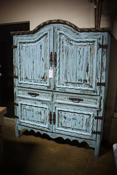 Rustic Pine Armoire with Antique Aqua Finish. Interested in this piece? Contact us for more info: 405-947-7710