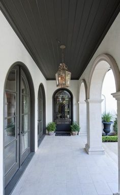 Dark Ceiling Design, Pictures, Remodel, Decor and Ideas - page 8 House Design, Dark Ceiling, Arch Doorway, House, French House, Mediterranean Decor, Ceiling Design, Porch Design, House Exterior