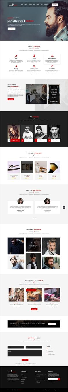 Unisex is clean and modern design PSD template for #barbershop, #hairstyle spa and beauty #salon website with 3 homepage layouts and 27 layered PSD files download now➩ https://themeforest.net/item/unisex-salon-barber-shop-hair-spa-and-beauty-salon-psd-template/19797130?ref=Datasata