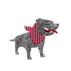 "Erstwilder Limited Edition Staffy Stan grey resin brooch. ""Poor misunderstood Stanley. He's really not such a brute. As a matter of fact we think he's quite cute."""