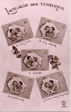 Le langage des #timbres #Geneanet #CartesPostalesAnciennes #Archives