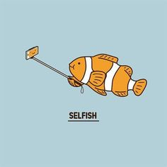 Selfish by @limhengswee #illustration #limhengswee #selfie #fish #pun #funny by ohhdeer Punny Puns, Puns Jokes, Cute Puns, Funny Love, Top Funny, Funny Stuff, Funny Quotes, Funny Memes, Science Humor
