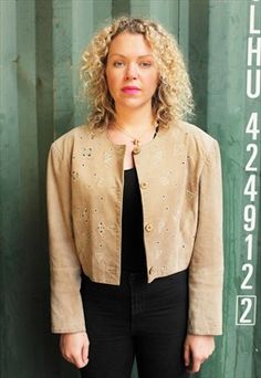Vintage 1980s Beige Suede Cropped Jacket with cut outs