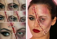 halloween gesichter schminken damen look zombie wunde 3d effekt