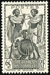 "Somali Coast (French Somaliland)  1940 Scott 160 60c black ""Somali Warriors"""