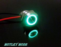 12mm Push Button Flush Green Led - Motley Mods - 1